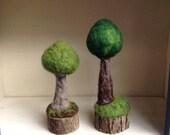 Needle Felted Wool Tree on real Wood  Stump