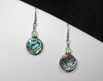 Abalone and Green Quartz Earrings in Silver