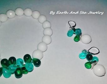 Jade #Snow #White #Jade Snow Bright #Green #Teal #Designer #Slovakian #Winter #Bracelet