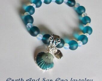 Seaglass #Teal #Recycled #Sea #Glass  #Sea Of #Blue #Teal #Opal #Charmed #Ceramic #Teal #Blue #Shells # #Bracelet