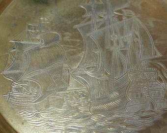 small ship decorates vintage english brass round tray