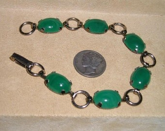 Vintage Bracelet 1940's With Green Glass Cabochons Jewelry 2200