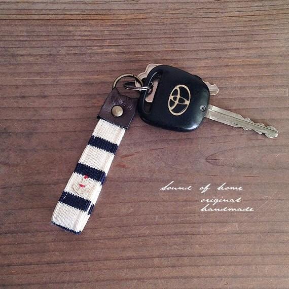 Nautical anchor unisex leather keychain key holder gift idea Japan zakka