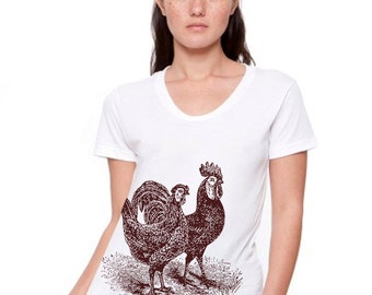Women's T Shirt Rooster Country Farm Chickens T Shirt tee - American Apparel Tshirt - S M L XL (20 Color Options)