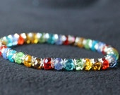 Sterling Silver Rainbow Crystal LGBT Beaded Bracelet for Deb