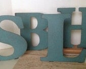 Metal letters 10 inches Tall, distressed letters, Teal letter, Wedding letters, , Metal letters made to stand up alone OR to Hang