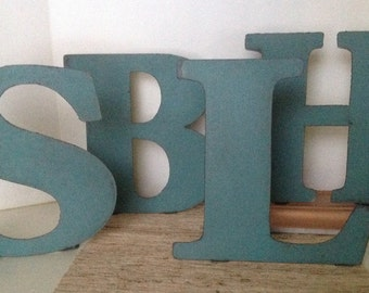 metal letters 10 inches tall distressed letters teal letter wedding letters metal letters made to stand up alone or to hang