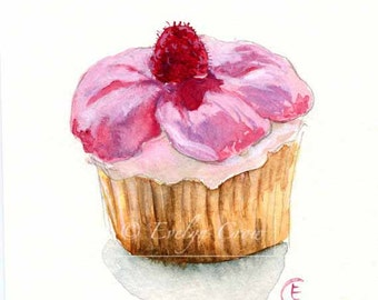 Cupcake 32 - Original Watercolor Painting 8x6 inches