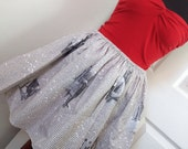 Full Skater / Circle Style Sherlock Holmes Mini Skirt - Literary High Waisted Ladies Skirt - A Scandal in Bohemia - Handmade & Ready to Ship