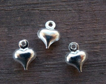20 Tiny Silver Plated Heart Charms 9mm Puffy Hearts