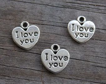 20 Silver Heart Charms with I Love You Stamped on Front 12mm