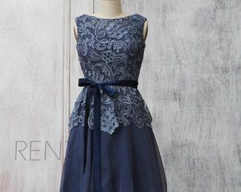 2015 Navy Blue Bridesmaid dress, Short Wedding dress, Lace Chiffon Party dress, Prom dress, a line Formal dress knee length (F010A)