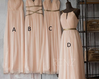 2016 Peach Bridesmaid Dress, Long Prom Dress, Wedding Dress, A Line Chiffon Formal Dress, Mix And Match Floor Length (F062~66)/Renzrags Renz
