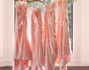 2017 Mix and Match Peach Bridesmaid Dress, Ruffle Draped Wedding Dress, Women Formal Dress, Long Prom Dress A Train Floor Length (F073~F077)