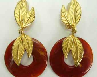 1980s Dauplaise Tribal Faux Amber Gold Leaves Earrings Runway 3 Inches Jet Set Chic