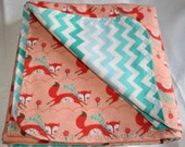 Fox and Chevron Cotton Flannel Baby Blanket