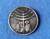 Vintage de Passille-Sylvestre Enamel Brooch - natives sitting under tree