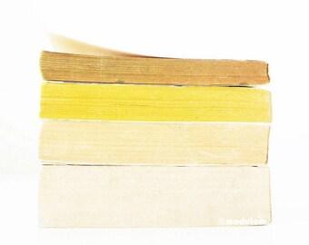 Kitchen Art Print - Lemon and Thyme - Fine Art photo of vintage books, light moss, yellow, ivory, white, faded colours, minimal, 8x8, 8x10