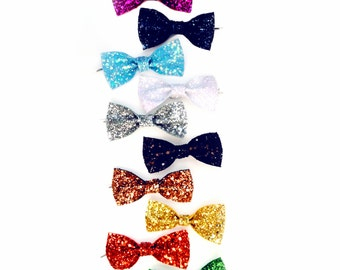 Mini Glitter Hair Bow Pair