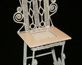 "Vintage 1980 White Metal Twisted Metal Wicker Look Ornate Mini Chair 4""H Perfect for Dollhouse"