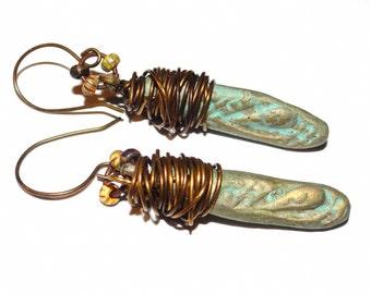 Handmade Copper Ceramic Aqua Beaded Earrings