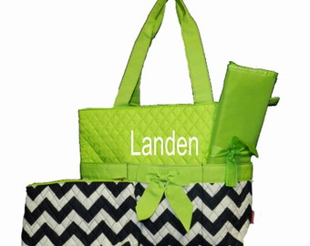 Personalized Chevron Diaper Bag Set - Zig Zag Baby Tote Set - Navy & White Chevron with Lime Trim Quilted Diaperbag Baby boy or girl
