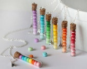 Macaroon Necklace - Rainbow Colors - Eiffel Tower Necklace - French pastry Necklace - Gradient Colors Necklace