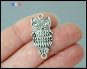 1 OWL Bird Charm Connector - 28mm Antiqued Silver Owl Bird Animal Metal Link Charm - Instant Ship - USa Discount Charm - 6027