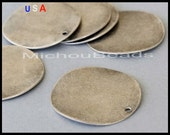 1 Wavy Disc - 26mm Flat ROUND Disc Drops - Antiqued Silver STAMPING Coin Charm / Findings/ Pendant - Instant Ship - USa Seller - 5930