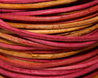 1 Foot - 2mm GYPSY Distressed LEATHER Cord - IRASA Gypsy Leather Cord - Round Lead Free Genuine Indian Leather Cord - Instant Ship from Usa