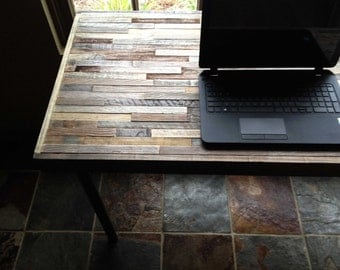 25% OFF Sale - Kitchen Table - Barnwood Desk - Industrial Furniture - Modern Reclaimed Barn Wood Rustic Wood and Steel Legs
