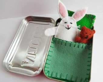 white felt bunny in tin - Bunny in a Box™ w/ green bedding - miniature Altoids tin toy - purse toy - travel toy - pocket toy - ready to ship