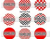 INSTANT DOWNLOAD Ramblers Chevron Polka dot Red Black  School Mascot 1 inch circle Bottle cap Imgaes