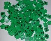 Vintage game tokens 20 letter squares green plastic tiles mixed lot playing pieces altered art scrap supplies scrapbooking lot