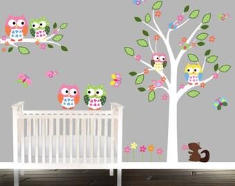 Boys or Girls nursery tree decal, Owl wall Decal, tree decal, baby owl wall decals, squirrel, owls