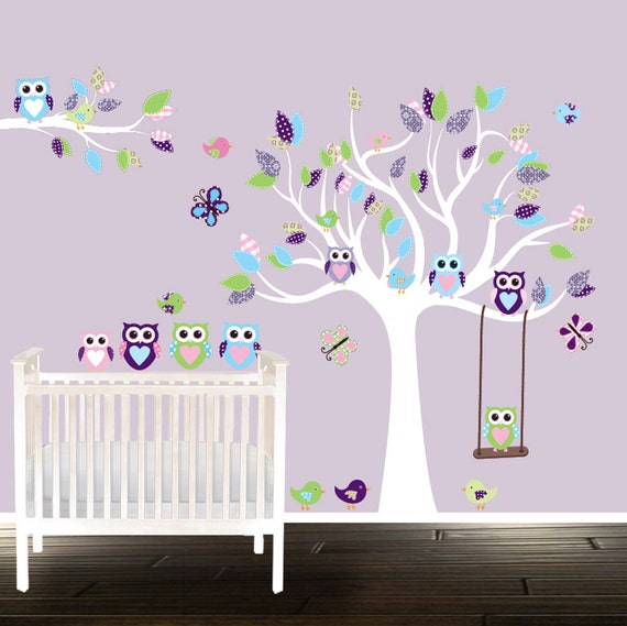Applique mural hibou for Stickers arbre chambre bebe