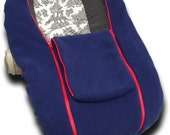 Navy  NUZZLER with red trim - Infant Car Seat Cover, Warm Polartec 200 - REVERSIBLE, Navy both sides