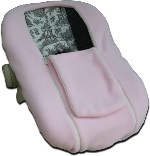 NUZZLER, Pink - Infant Car Seat Cover, Warm Polartec 200 - REVERSIBLE, Pink both sides