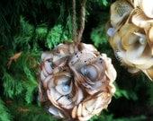 Small Christmas ornament. Vintage music paper ornament. Pomander, kissing ball.