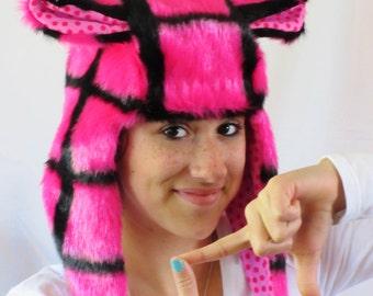 Fuzzy Monster Aviator hat, Pink Plaid Plushie, Pink Polka-dot lining, hot pink & black, earflap hat,  raverwear, Kawaii
