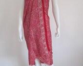 Silk Batik Sarong - Duo Tone Pink Flowers on Red