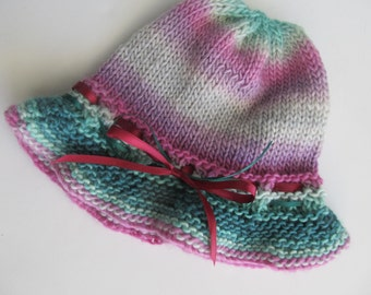 Child's Handknit Hat, Wool Blend, Fuschia and Teal