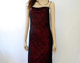 Little Red Dress, Slip Dress, Black Chiffon Overlay, Spaghetti Straps, Size 5/6