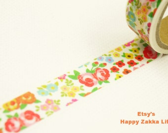 Japanese Washi Masking Tape - Colorful Flowers Field - 5.5 yards