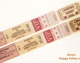 Japanese Washi Masking Tape - Vintage Tickets - 7.6 Yards