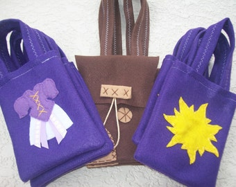 RAPUNZEL PARTY/ Tangled/ Flynn satchel/ felt party bags/ Set of 18 party favor/ rapunzel party supplies