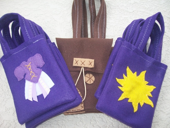 RAPUNZEL PARTY/ Tangled/ Flynn satchel/ felt party bags/ Set of 18 party favor/ rapunzel party supplies