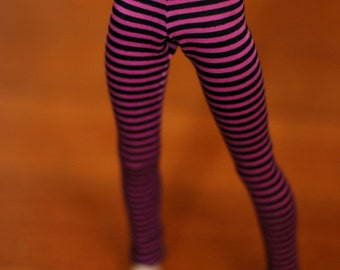 Minifee Magenta And Black Striped Leggings For MSD Ball Jointed Dolls