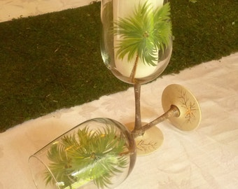 Palm tree hand painted wine glasses