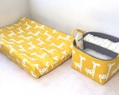 Changing Pad Cover and Diaper Caddy in White Giraffe on Yellow with Grey